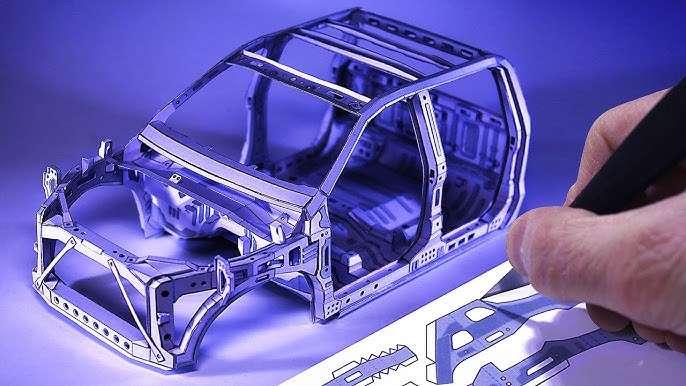 실제 자동차 도면으로 만든 모형 트럭