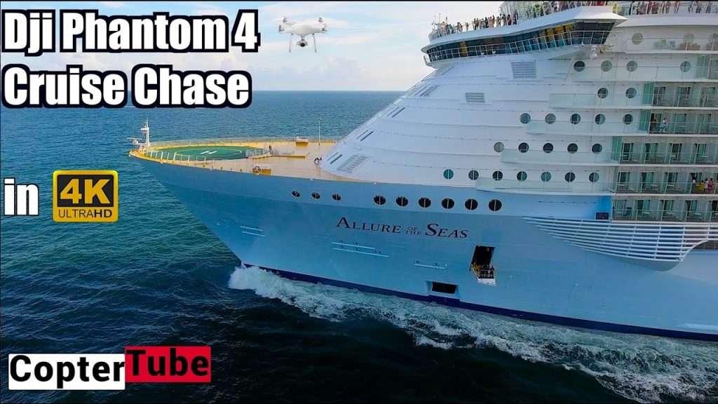 바다에 드론 띄우고 크루즈 여객선 따라가기